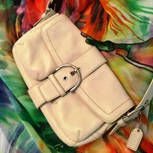 COACH Soho Shoulder Bag in Off White-Leather
